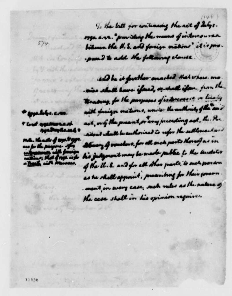 Thomas Jefferson to Pierce Butler, December 2, 1791, with Draft Resolutions