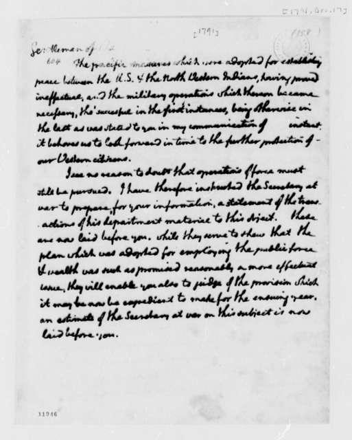 Thomas Jefferson to Senate, December 17, 1791