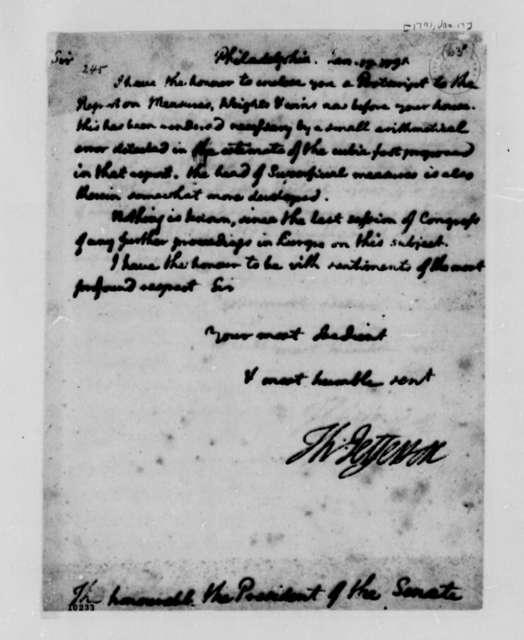 Thomas Jefferson to Senate, January 17, 1791