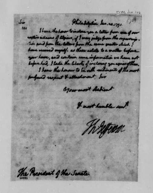 Thomas Jefferson to Senate, January 20, 1791