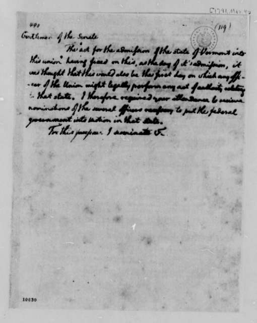 Thomas Jefferson to Senate, March 4, 1791