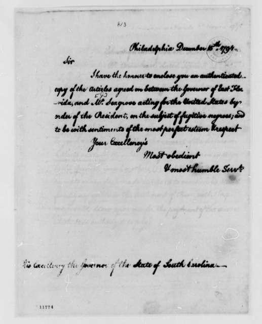 Thomas Jefferson to South Carolina Governor, December 15, 1791