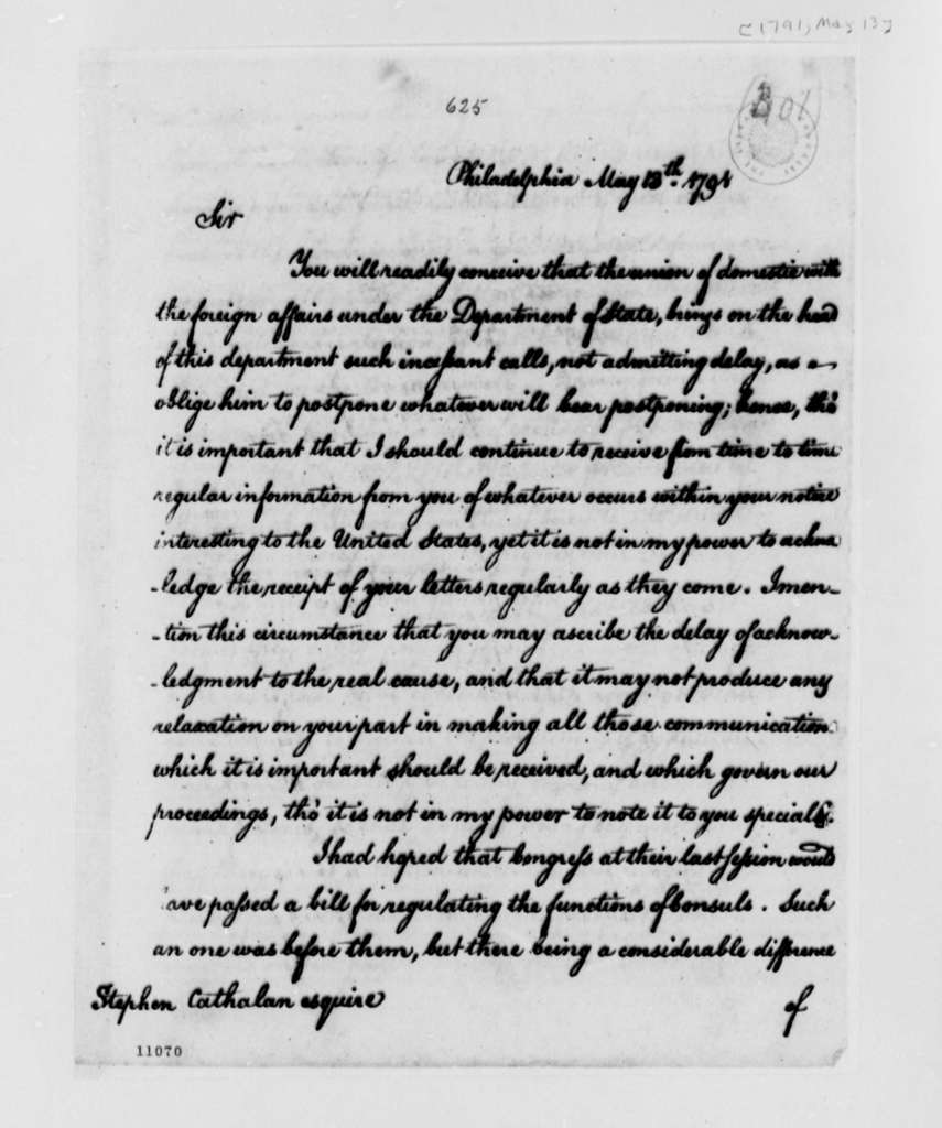 Thomas Jefferson to Stephen Cathalan, Jr., May 13, 1791