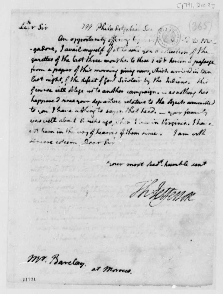 Thomas Jefferson to Thomas Barclay, December 9, 1791
