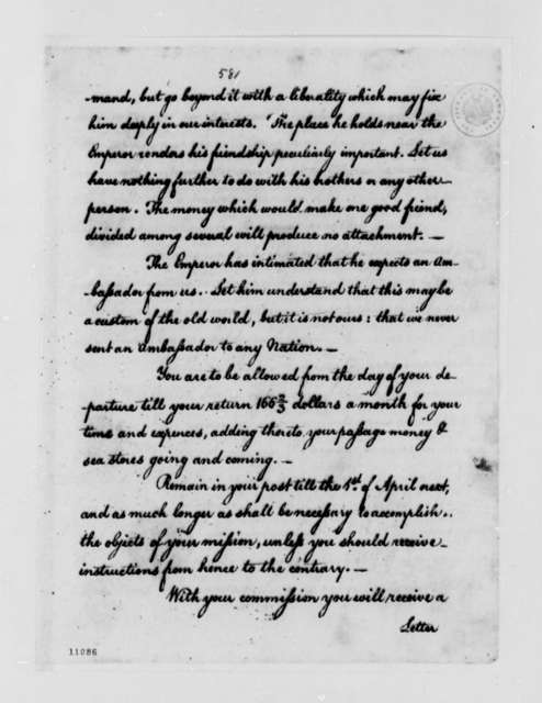Thomas Jefferson to Thomas Barclay, May 13, 1791, with Instructions