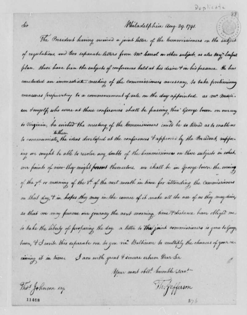 Thomas Jefferson to Thomas Johnson, August 29, 1791, with Copy