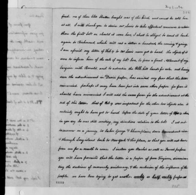 Thomas Jefferson to Thomas Mann Randolph, Jr., May 15, 1791, with Copies; Partial Transcription Available