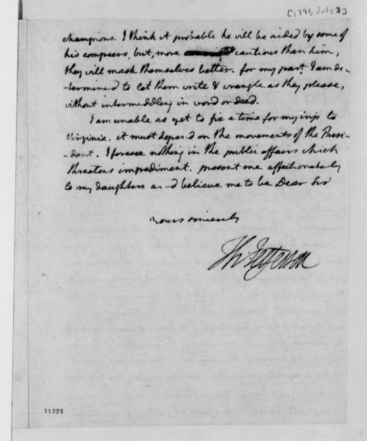 Thomas Jefferson to Thomas Mann Randolph, July 3, 1791, with Copies