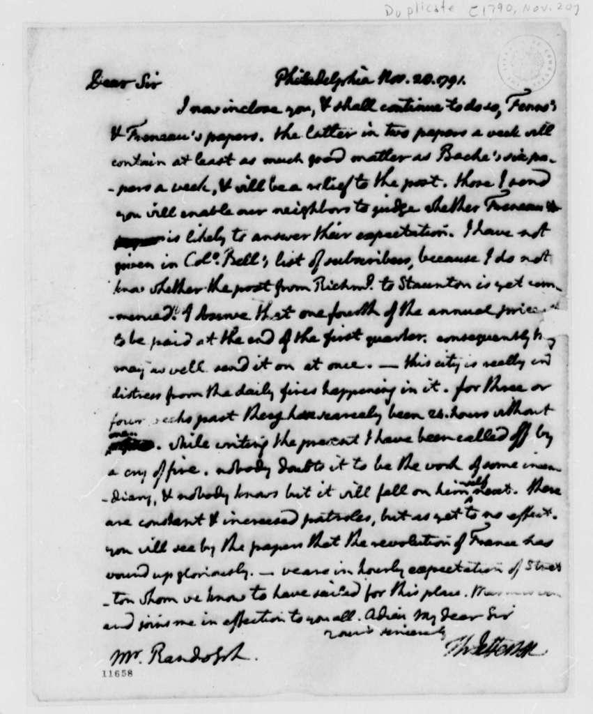 Thomas Jefferson to Thomas Mann Randolph, November 20, 1791, with Copies