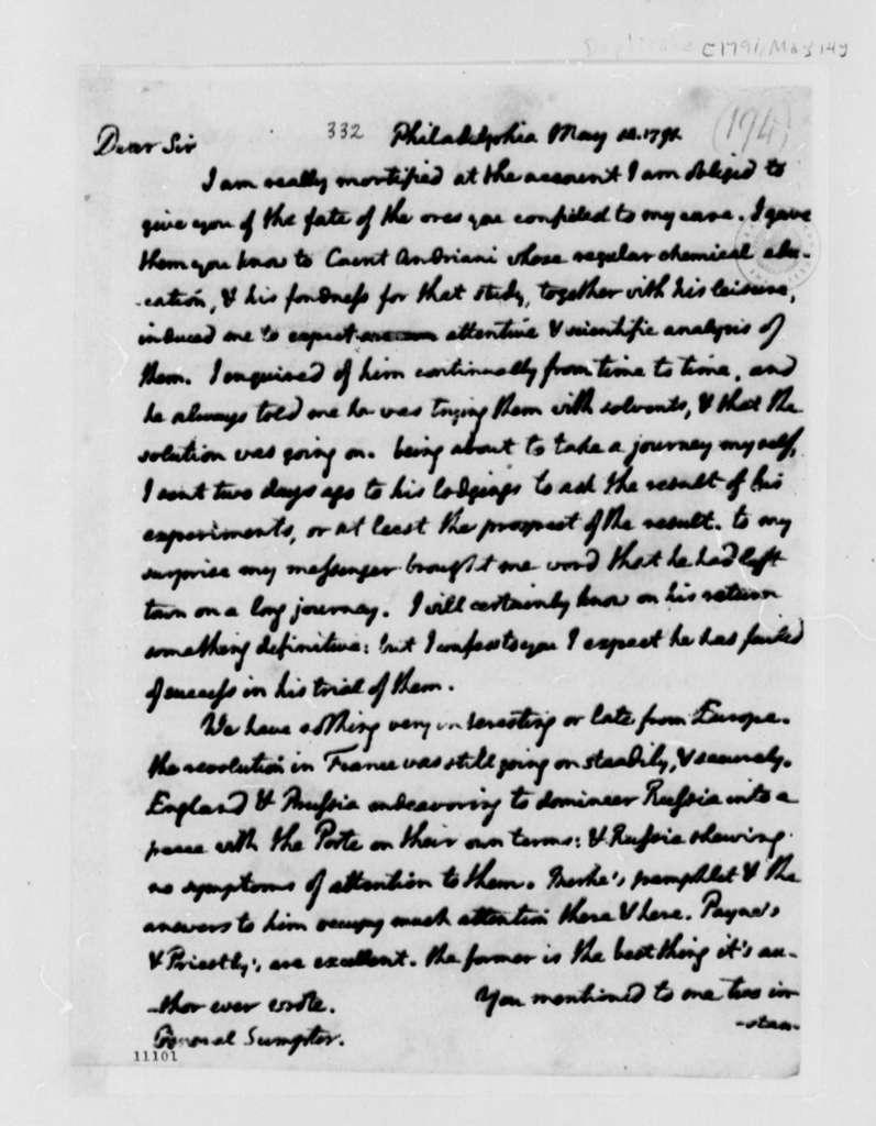 Thomas Jefferson to Thomas Sumter, May 14, 1791, with Copy