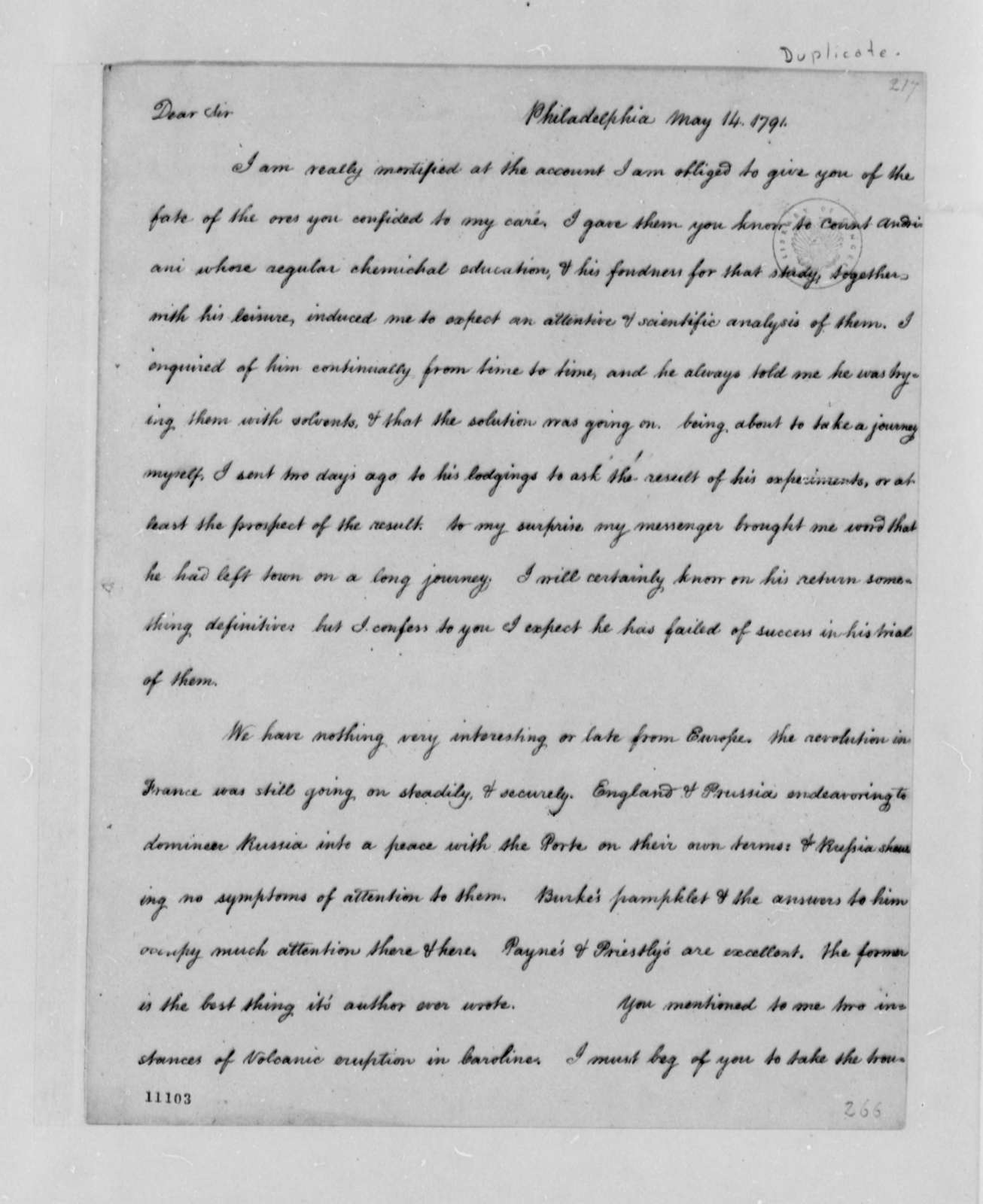 Thomas Jefferson to Thomas Sumter, May 14, 1791, with Copy