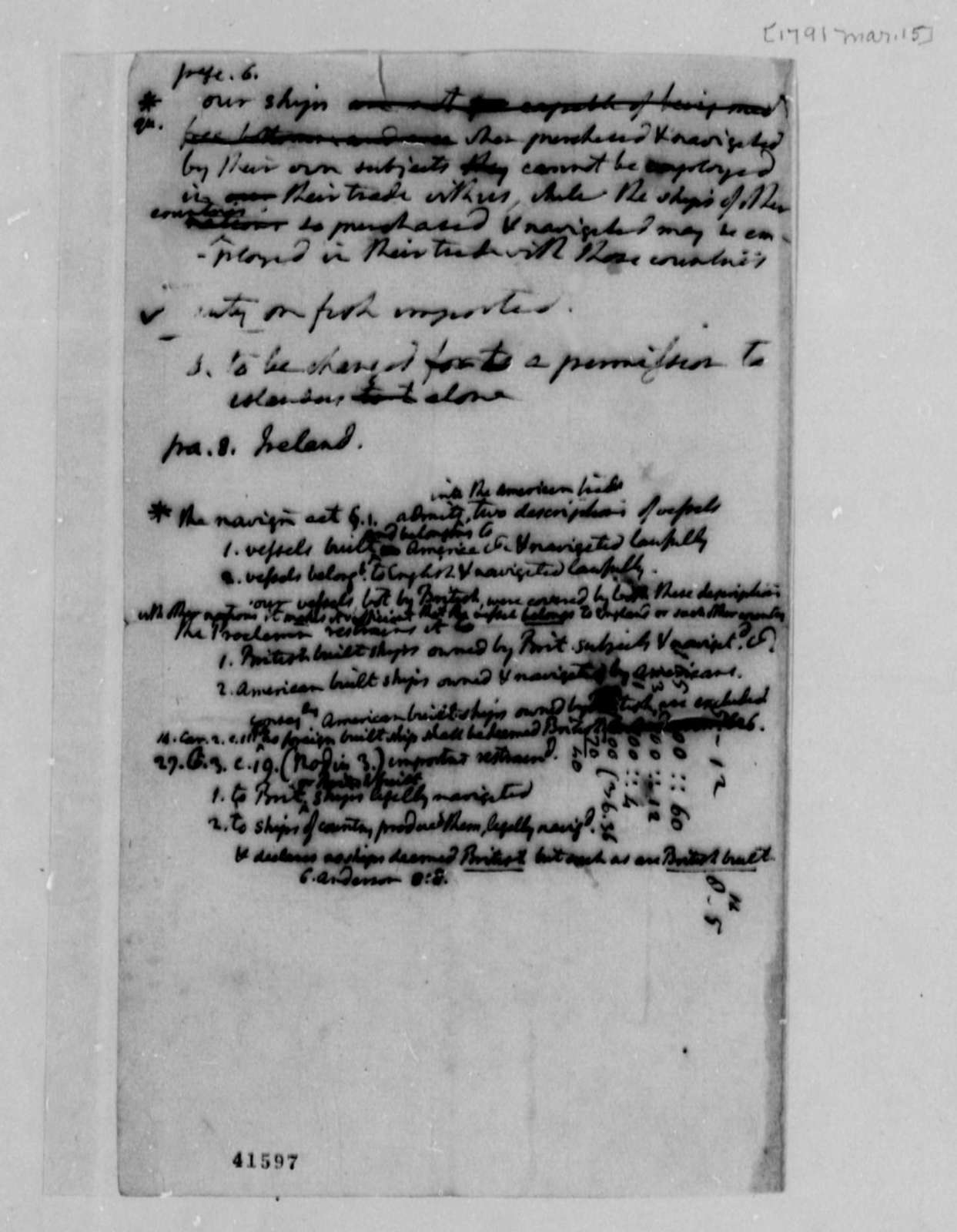 Thomas Jefferson to U. S. House of Representatives, March 15, 1791, Notes