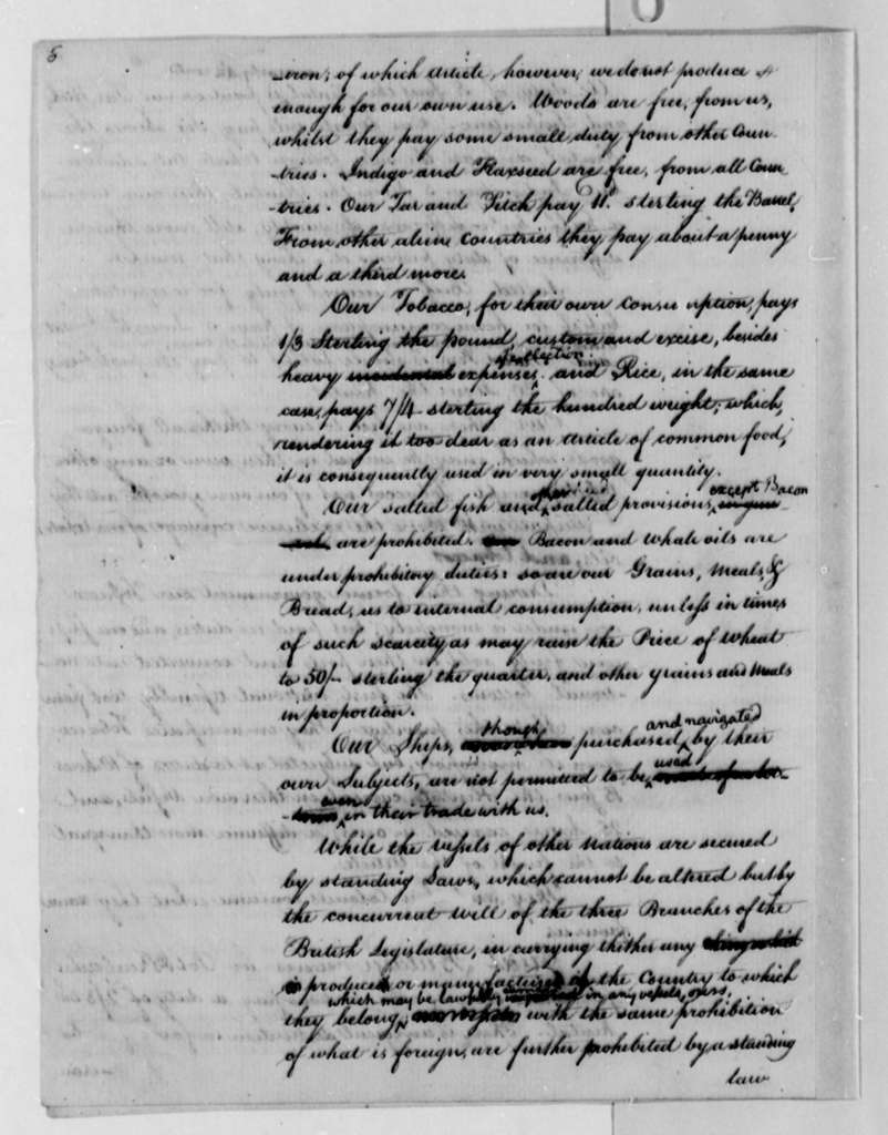 Thomas Jefferson to U. S. House of Representatives, March 15, 1791, Report with Draft