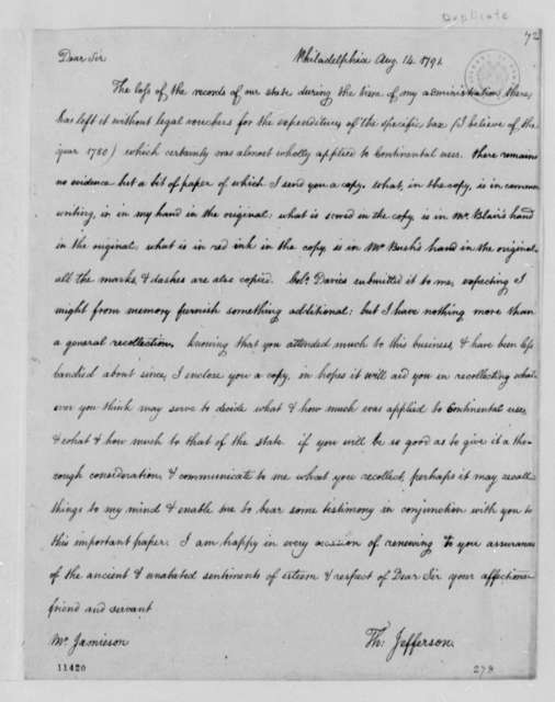 Thomas Jefferson to Uriah Forrest, August 14, 1791, with Copy