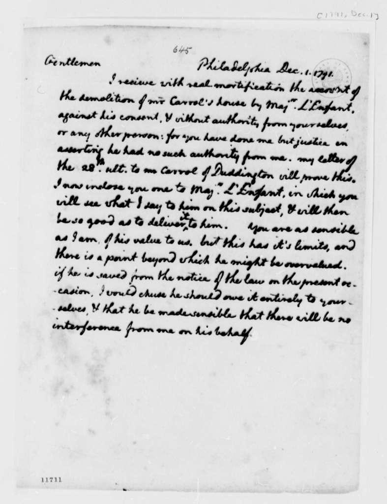 Thomas Jefferson to Washington, D.C., Commissioners, December 1, 1791