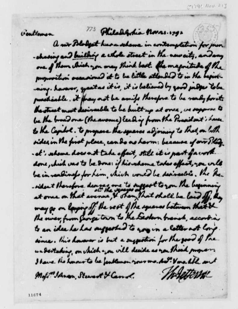 Thomas Jefferson to Washington, D.C., Commissioners, November 21, 1791