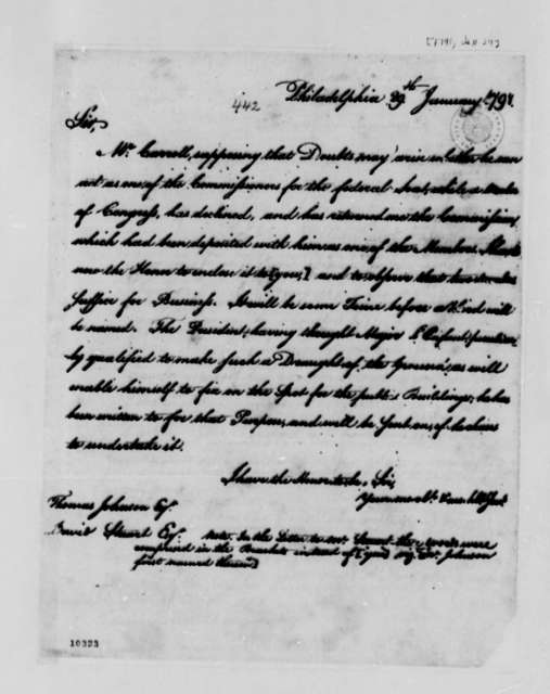 Thomas Jefferson to Washington, D.C.,Commissioners, January 29, 1791