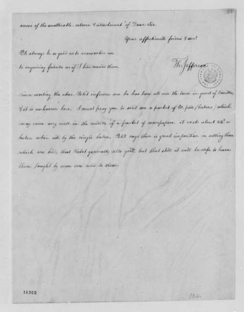 Thomas Jefferson to Willam Short, July 28, 1791, Partial Transcription Available