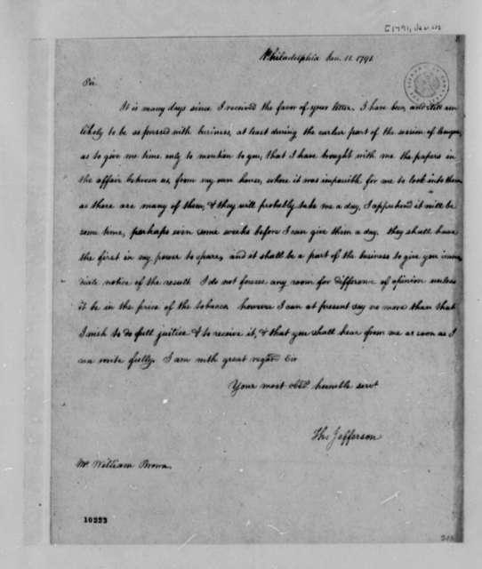 Thomas Jefferson to William Brown, January 11, 1791