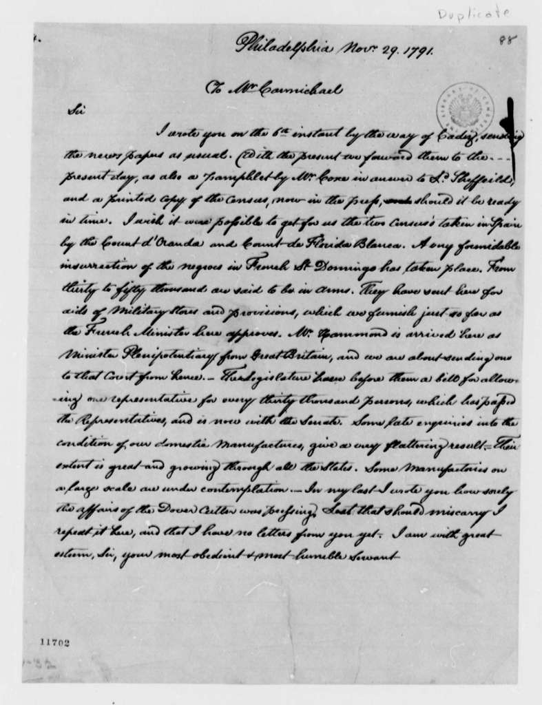 Thomas Jefferson to William Carmichael, November 29, 1791, with Copy