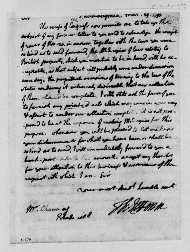 Thomas Jefferson to William Channing, March 29, 1791