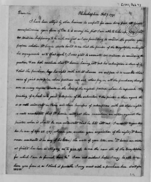 Thomas Jefferson to William Hay, February 7, 1791, Mutilated, with Copy