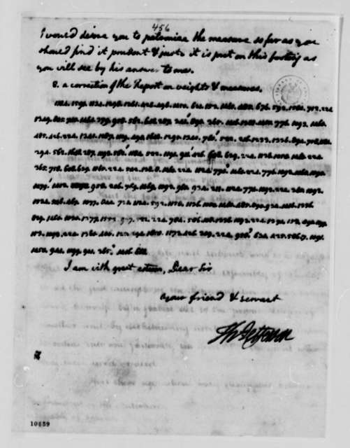 Thomas Jefferson to William Short, March 8, 1791, with Cipher