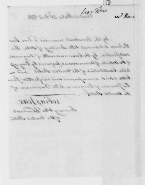 Tobias Lear to Thomas Jefferson, December 30, 1791