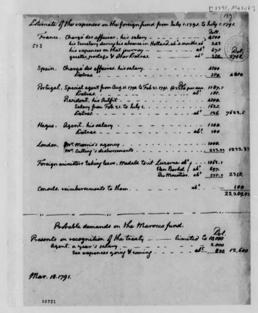 U. S. State Department, March 18, 1791, Foreign Fund Expenses