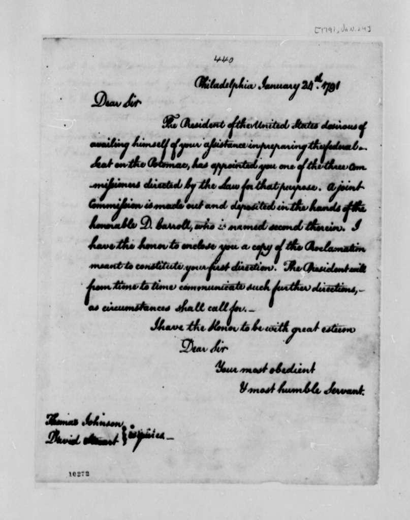 Washington, D.C.,Commissioners from Thomas Jefferson, January 24, 1791