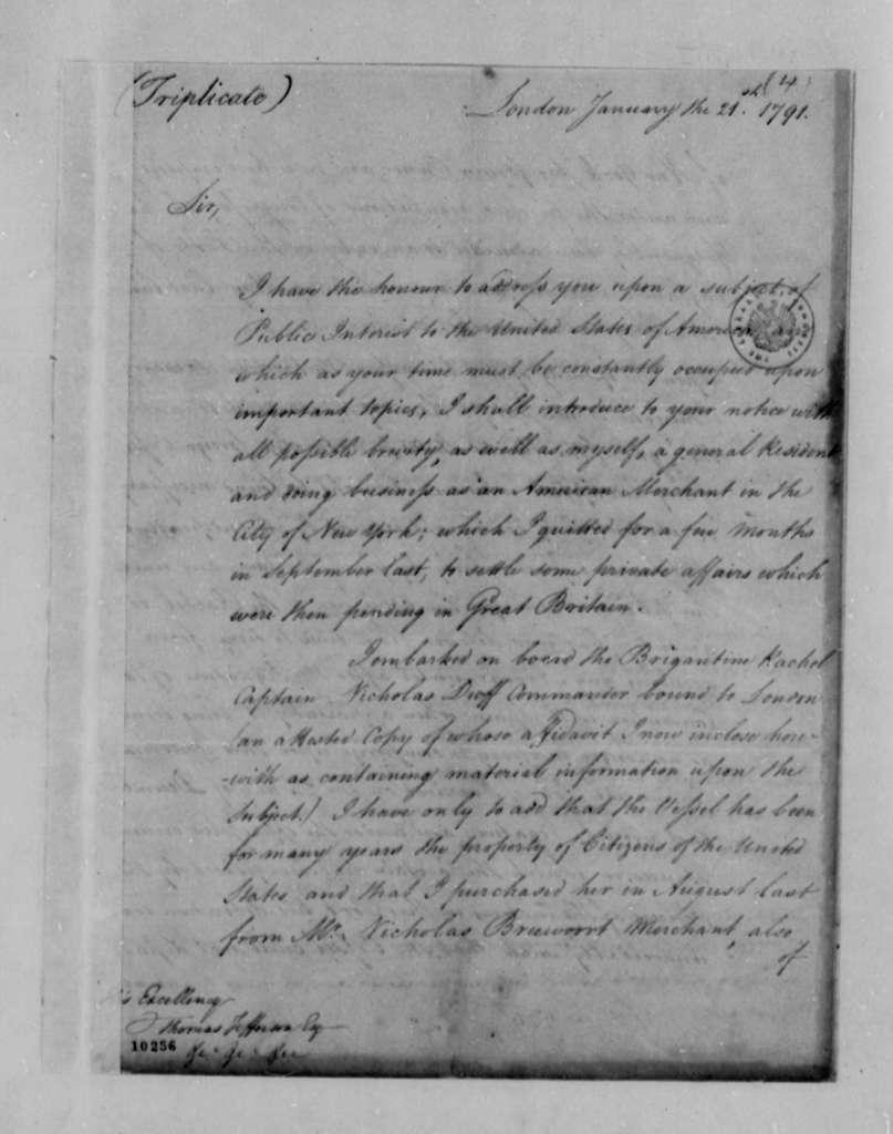 William Green to Thomas Jefferson, January 21, 1791, with Copy