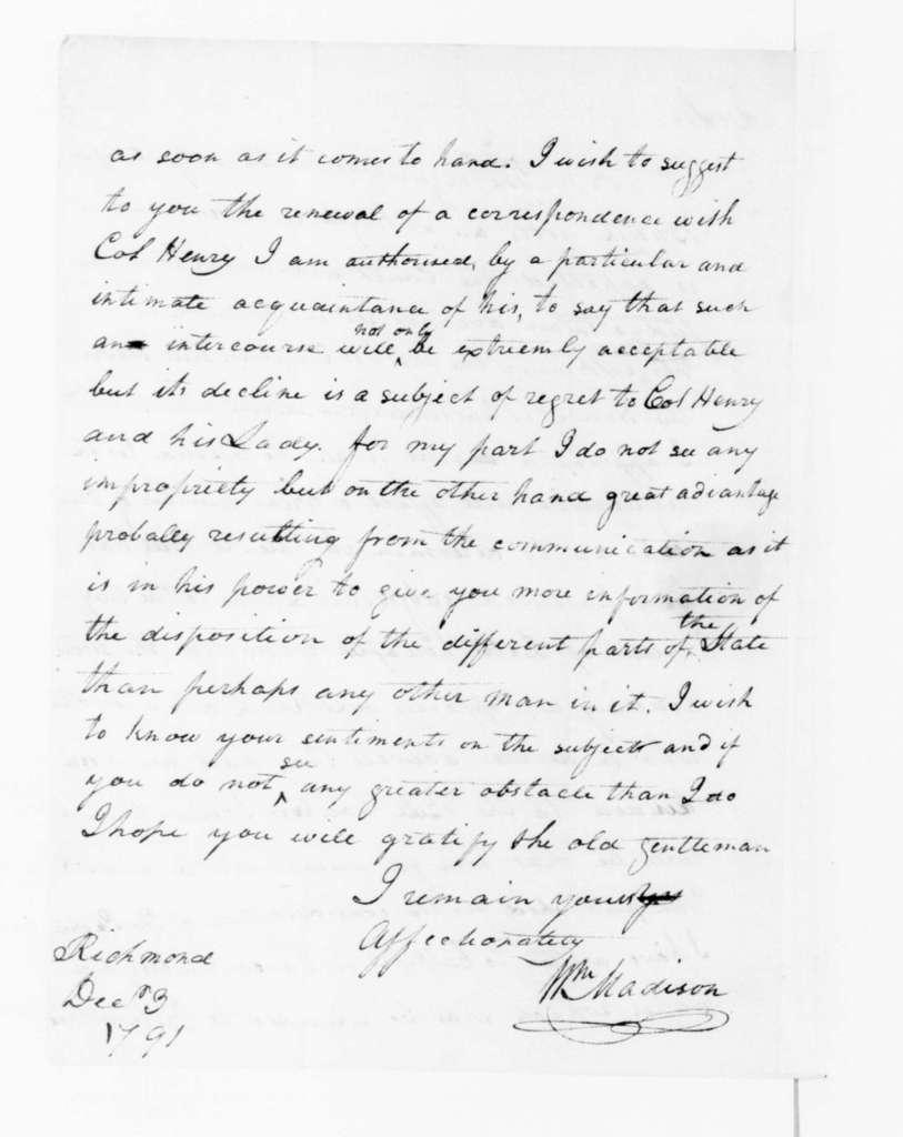 William Madison to James Madison, December 3, 1791.