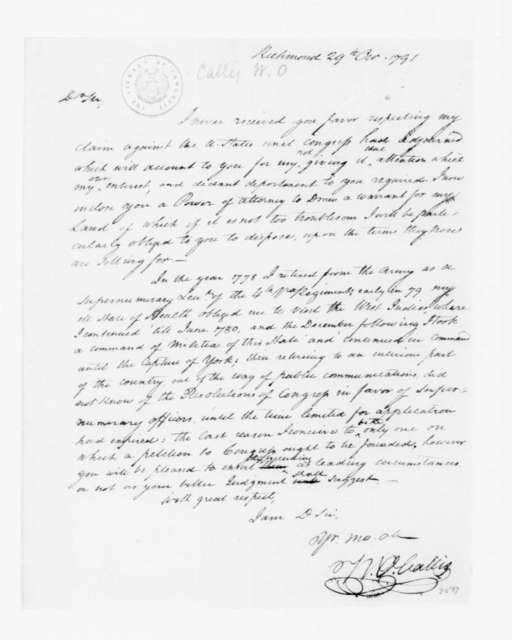 William Overton Callis to James Madison, October 29, 1791.