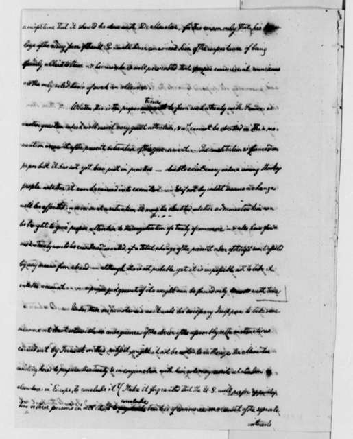 William Short to Thomas Jefferson, October 6, 1791, Incomplete