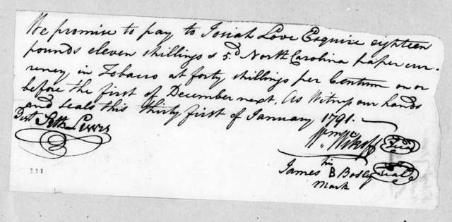 William Wikoff and James Bosley to Josiah Love, January 31, 1791