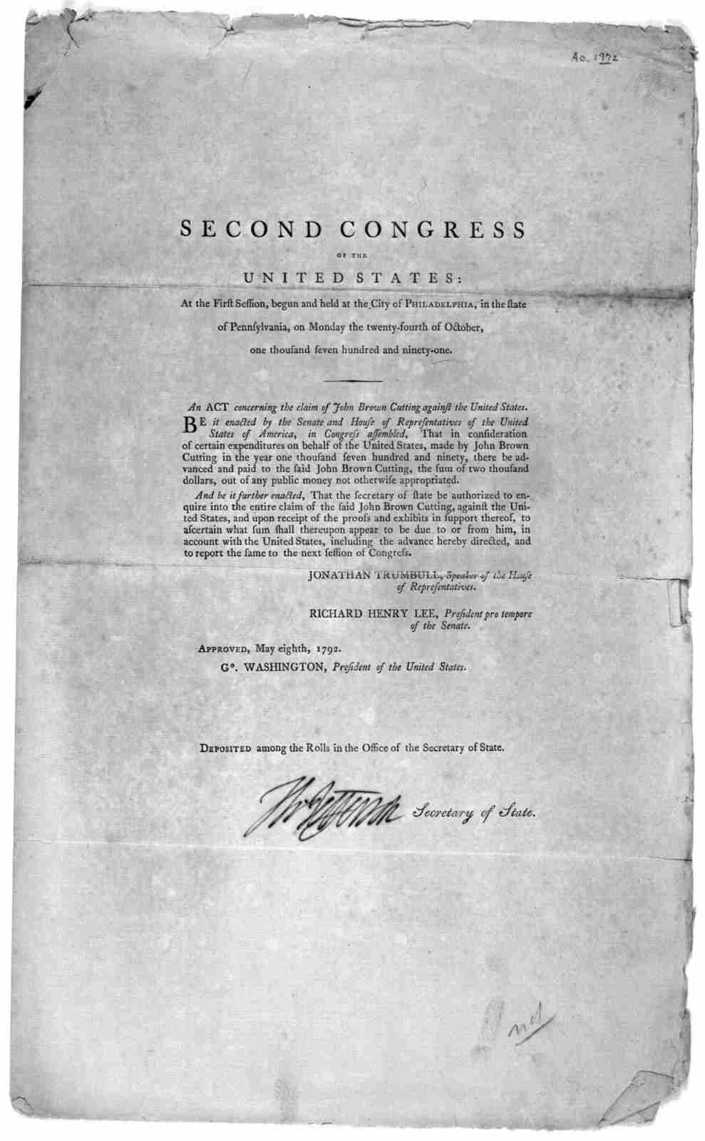 ... A act concerning the claim of John Brown Cutting against the United States. [Philadelphia: Printed by Francis Childs and John Swaine, 1792.].
