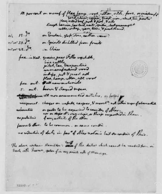Alexander Hamilton, March 11, 1792, Tariff, in Thomas Jefferson's Hand