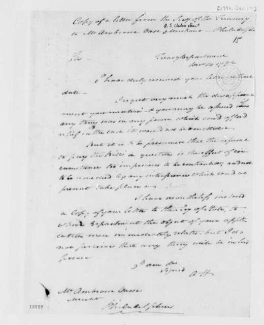 Alexander Hamilton to Ambrose Vasse, December 14, 1792