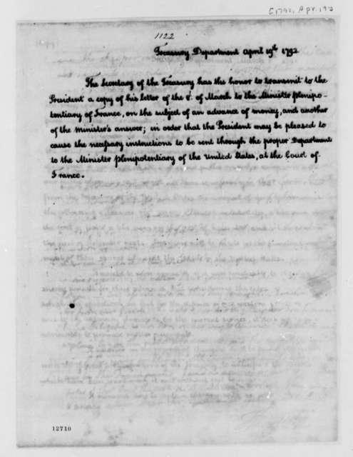 Alexander Hamilton to George Washington, April 19, 1792