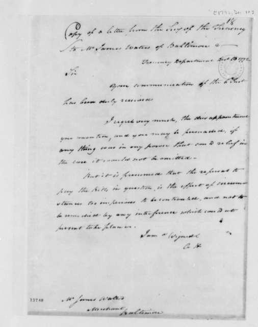 Alexander Hamilton to James Waters, December 10, 1792