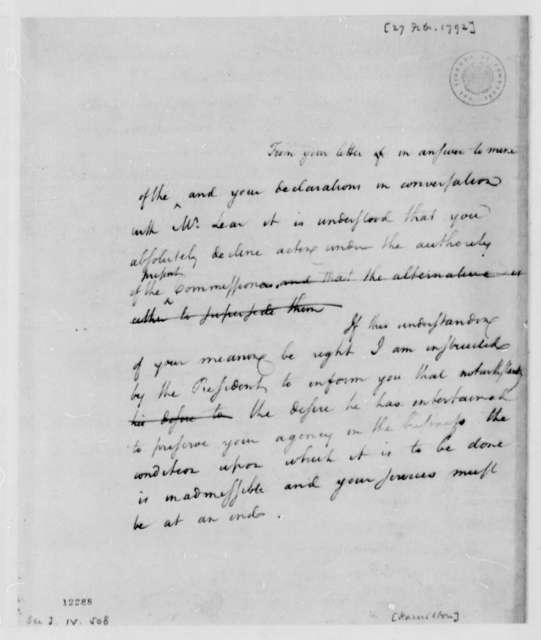 Alexander Hamilton to Thomas Jefferson, February 27, 1792