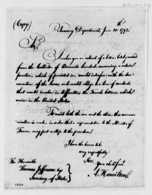 Alexander Hamilton to Thomas Jefferson, June 20, 1792