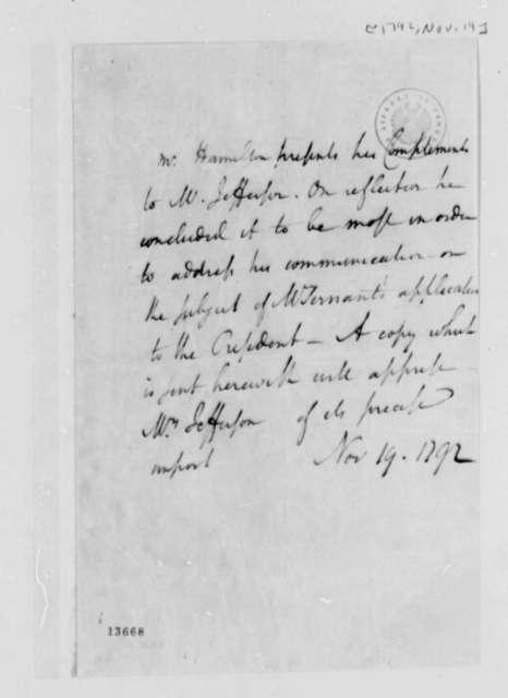 Alexander Hamilton to Thomas Jefferson, November 19, 1792