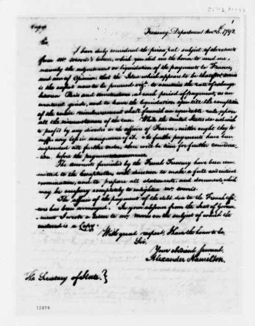 Alexander Hamilton to Thomas Jefferson, November 5, 1792
