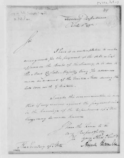 Alexander Hamilton to Thomas Jefferson, October 11, 1792