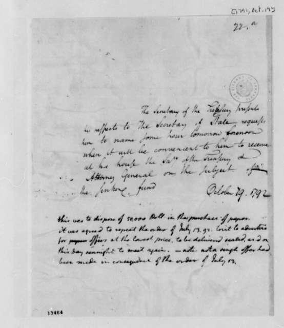 Alexander Hamilton to Thomas Jefferson, October 19, 1792, with Thomas Jefferson Note