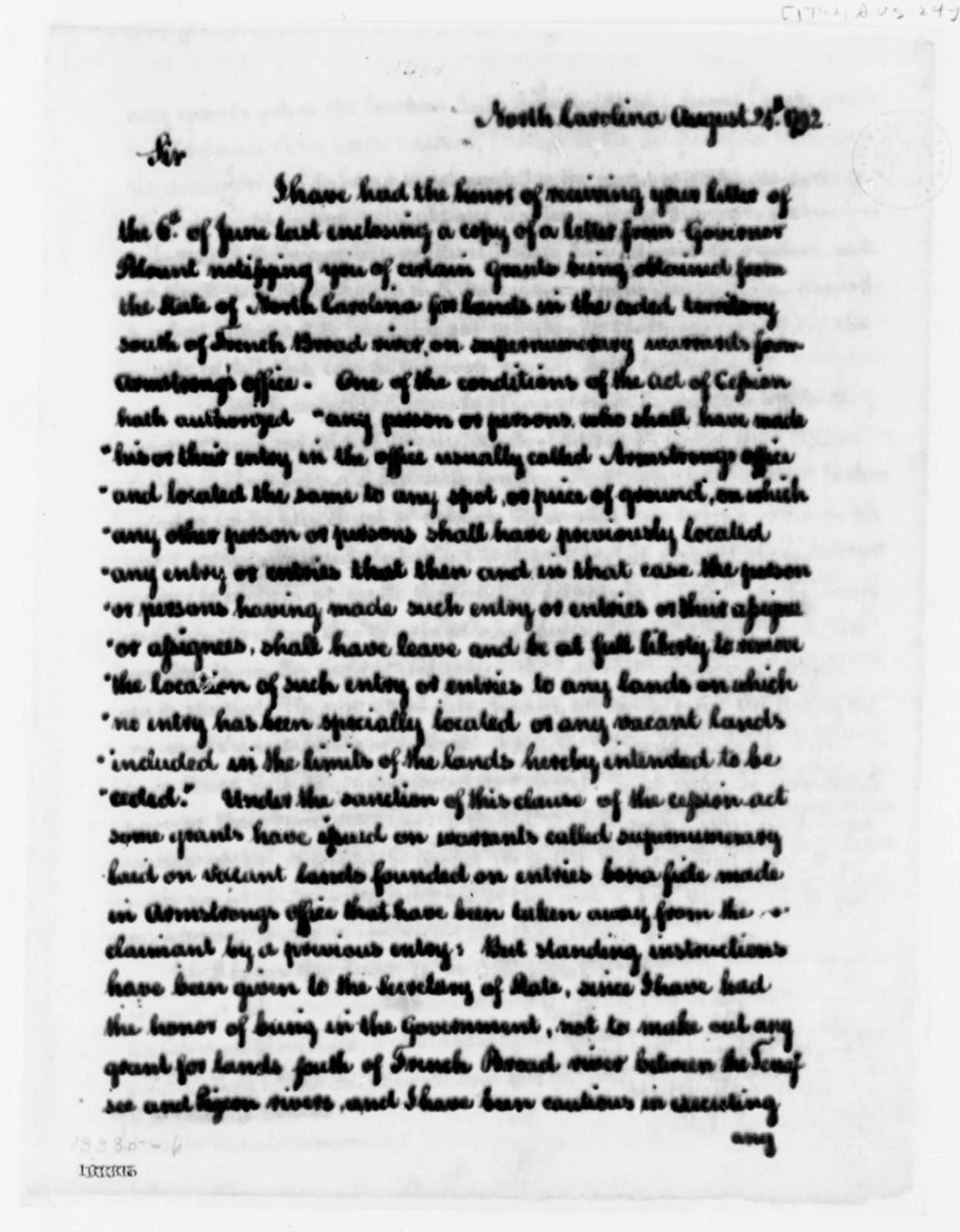 Alexander Martin to Thomas Jefferson, August 24, 1792