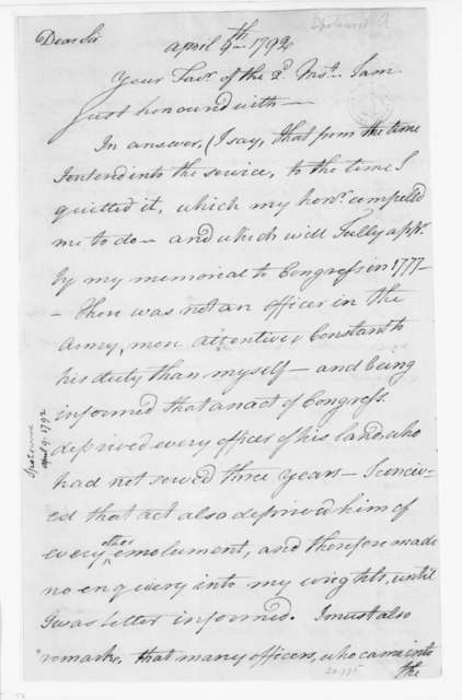 Alexander Spotswood to James Madison, April 9, 1792.