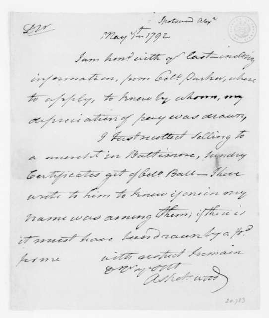 Alexander Spotswood to James Madison, May 1, 1792.