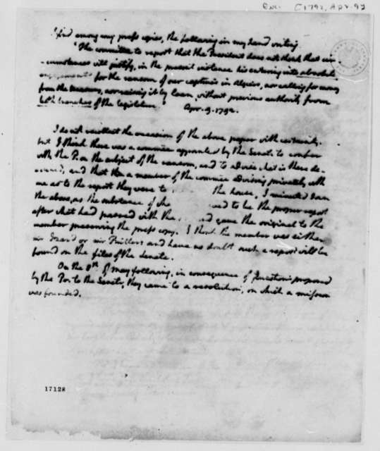 Algerine Captives, April 9, 1792, with Letter to Madison Dated April 17, 1798